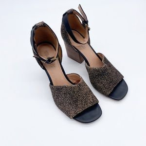 Madewell Spotted Calf Hair Ankle Strap Block Heels